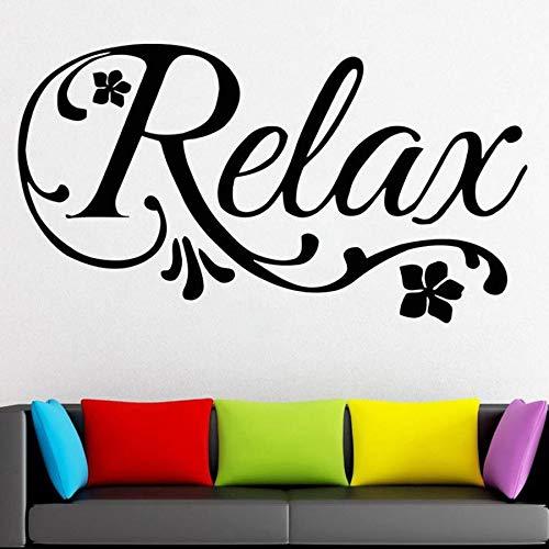 Spa schoonheidssalon muursticker belettering ontspannen raam vinyl sticker massage spa salon huis wanddecoratie bloemenkunst muurschildering 57x31cm