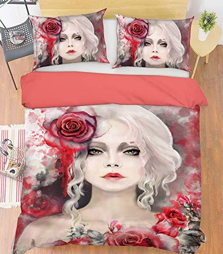 AJ WALLPAPER 3D Rose Girl 3926 Bedding Pillowcases Quilt Duvet Cover Set Single Queen King | 3D Photo Bedding UK Angelia (Super King:225 * 260cm(±4cm))