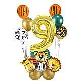 MMTX 1 año Decoración de cumpleaños de la Jungla, decoración de Primer cumpleaños de Safari, Globo Dorado número 9, Globos de Papel de Aluminio de Animales del Bosque sa