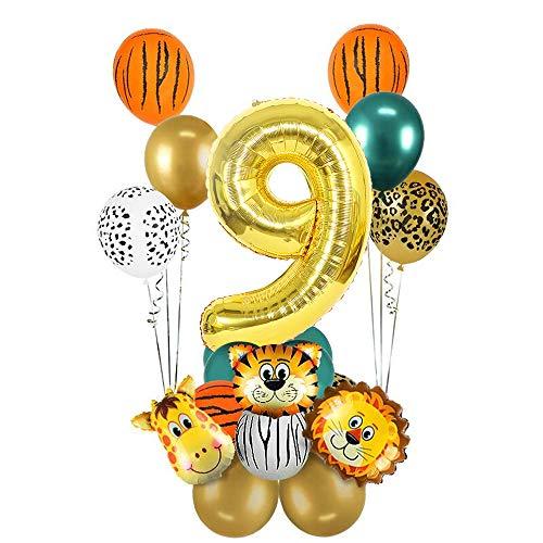 MMTX 9 Decorazione di compleanno nella giungla, 9 Decorazione di compleanno Safari, Palloncino numero 9 in oro, Palloncini in stagnola con animali della