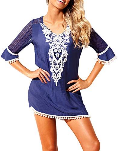EDOTON Strandkleider, Frauen Bluse Kleid häkeln Pom Pom Trim Strand Tunika Badeanzug (S, Blau)