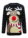 Renne de Noël tricoté de Noël de nouveauté de mens, au pull de pub taille S-2XL noir rouge (3D Pom Pom Black, Large)