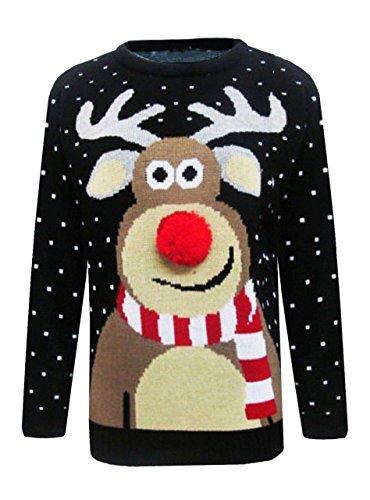 Mymixtrendz Renne de Noël tricoté de Noël de nouveauté de Mens, au Pull de pub Taille S-2XL Noir Rouge (3D Pom Pom Black, Large)