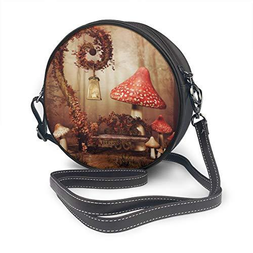 Otoño cuento de hadas paisaje con un banco redondo hombro bolsa de cuero Messenger Bag Vintage Crossbody ajustable correa de hombro para las mujeres personalizado