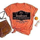 jiabushu shop Camiseta de Halloween para mujer divertida Sanderson Sisters Brewing Co Premium Witches Brew Graphic Tee Shirt, Orange-1, Bronce.,