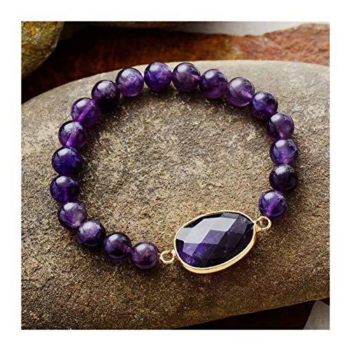 XYBB Women Bracelets Labradorite Stretch Bracelets Natural Stone Charm Elastic Statement Bracelet Jewelry (Metal Color : Amethyst)