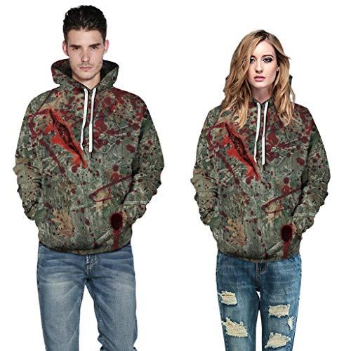 Heetey Herren Kapuzenpullover, Halloween Frauen Männer Paare Blutdruck Langarm Hoodie Sweatshirt Pullover Halloween Horror 3D Print...
