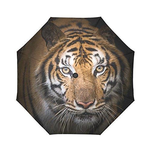 INTERESTPRINT Animals Tiger Windproof Auto Open and Close Foldable Umbrella, Travel Unbreakable Compact Sun and Rain Umbrella UV Protection