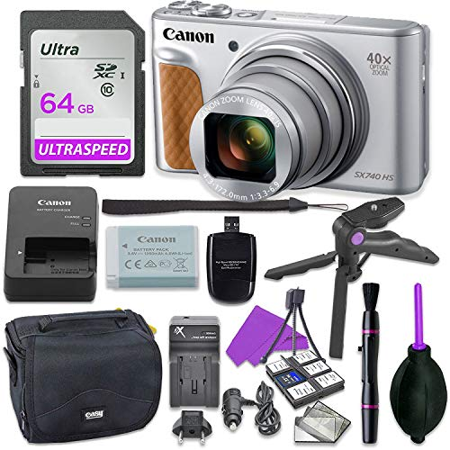 Canon PowerShot SX740 HS Digital Camera Bundle (Silver) with Tripod Hand Grip, 64GB SD Memory, Case and More