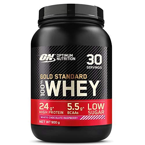Optimum Nutrition Gold Standard 100% Whey Proteína en Polvo, Glutamina y Aminoácidos Naturales, BCAA, Chocolate Blanco y Frambuesa, 30 Porciones, 900g, Embalaje Puede Variar