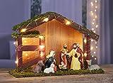 Spetebo Weihnachtskrippe mit 20 LED und 9 Figuren - Holz Tischdeko beleuchtet Weihnachtsdeko Krippe Figuren handbemalt - 2