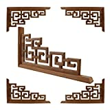 Zzx Woodcarving Flower Carved 5pcs Chinese Style Home Wedding Accessories Furniture Appliques Wood Carving Corner Wooden Decor Frame Wall Door Woodcarving Decal (Color : A)