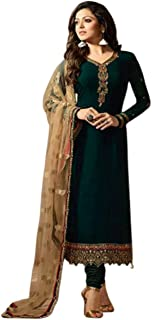 Style Amaze Women's Georgette Embroidered Semi Stitched Salwar Suit (Green Color_SA742_ST_SF928) Free Size