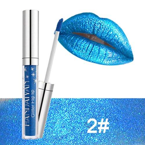 Schimmernd Lipgloss, erthome Wasserdichte langlebige Matte Lippenstift Makeup Lip Gloss Lip, Kosmetika (Blau)