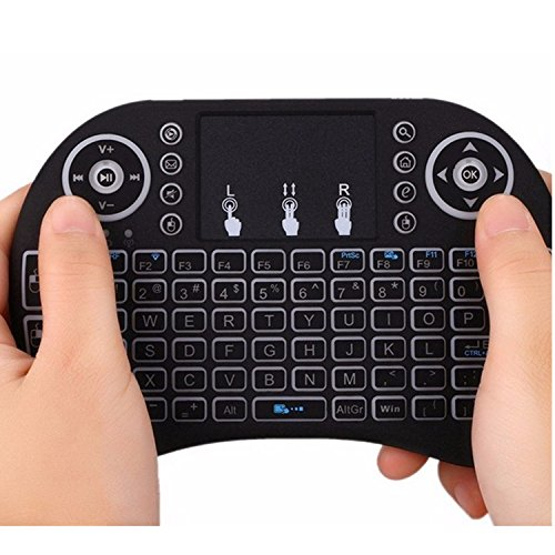 OUKU Mini Keyboard Backlit Flying Squirrels I8 2.4GHz Wireless for Android TV Box and PC with Touchpad