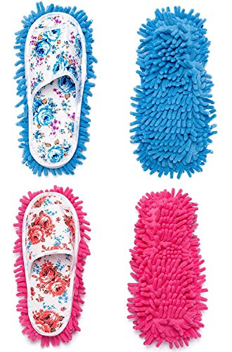 2 Pairs Microfiber Slipper Cleaning Mop Slippers Washable Detachable