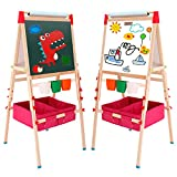 Arkmiido Kids Easel with Paper Roll Double-Sided Whiteboard & Chalkboard Standing Easel