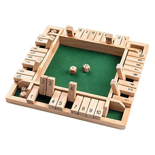 Dream-cool 2-4 Spieler Shut The Box HolzTisch Brettspiel Spiel Klassisch Würfelspiel Board Spielzeug Holzbrettspiel Vierseitiges Flop-Spiel EIN Klassisches Familien-Mathe-Spiel Für Kinder