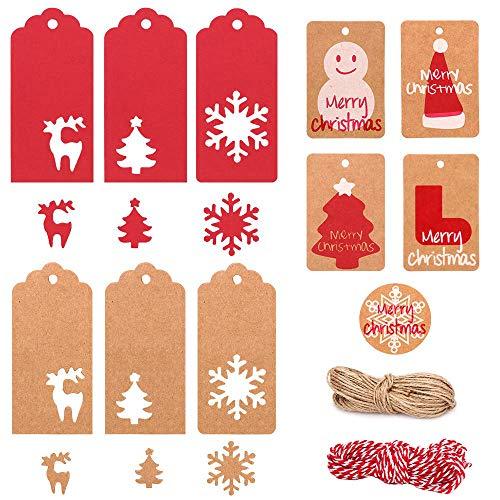 MonQi Weihnachtsgeschenkanhänger Kraftpapier, 220 Stück Süß Weihnachten Etiketten Kraftpapier, Geschenk Anhänger Weihnacht Papier Tag mit 10m Kenaf Schnur and 20m Juteschnur für Geschenk Dekoration