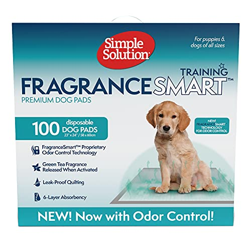 Simple Solution FragranceSmart Odor Control Puppy Training Pads | Green Tea Fragrance Odor Neutralizer with Wetness Indicator | 100 ct