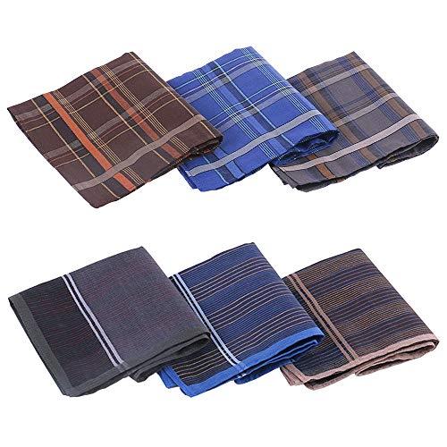 Ceqiny 6 Stücke Herren Taschentücher Karo-Muster Handkerchief Stofftaschentuch Einstecktuch Reine Baumwolle Handschal Weich Stoff Taschentücher, 100% Baumwolle, 40cm × 40cm