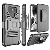 LG G6 Case, Jeylly [Armor Shield] Hybrid Impact Protection Heavy Duty Full Body Dual Layer Tough Rugged [Belt Swivel Clip] Holster with Kickstand Armor Defender Military Cases Cover for LG G6 - Black
