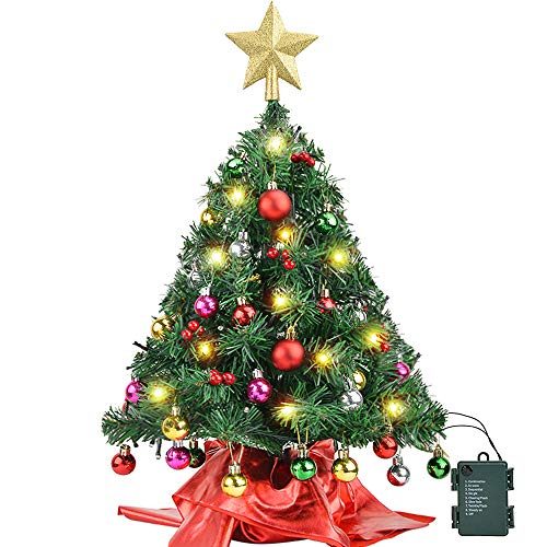 Amagoing 24'/60cm Small Artificial Mini Tabletop Christmas Tree with 50 LED String Lights, 28 Christmas Ornaments and Wooden Base for Holiday Decoration