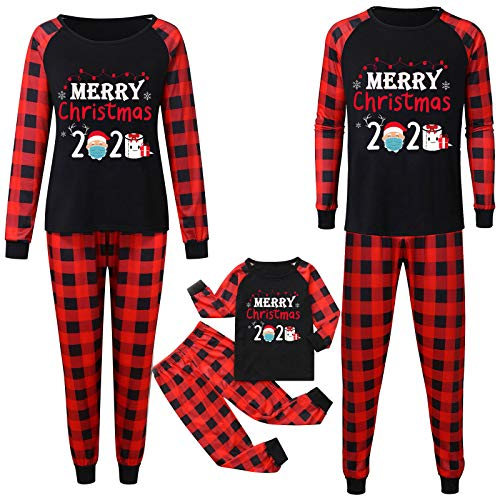 2020 Quarantine Christmas Pajamas Set for Family, Christmas Family Matching Pajamas Set Red Plaid Reindeer PJS(#01,Large/Dad)