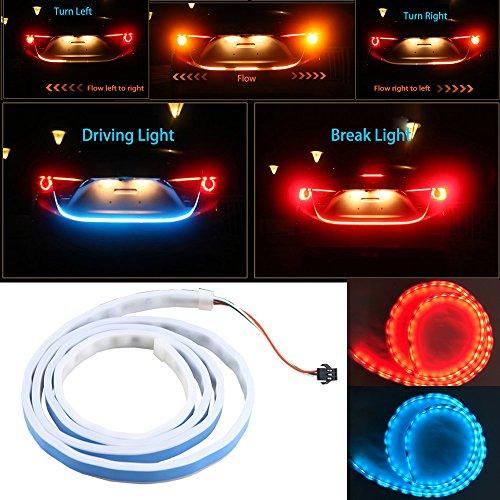 nslumo 1pieza 120cm RGB LED tira de iluminación trasera tronco luz trasera dinámico Streamer freno intermitente LED tiras de luces de advertencia coche estilo