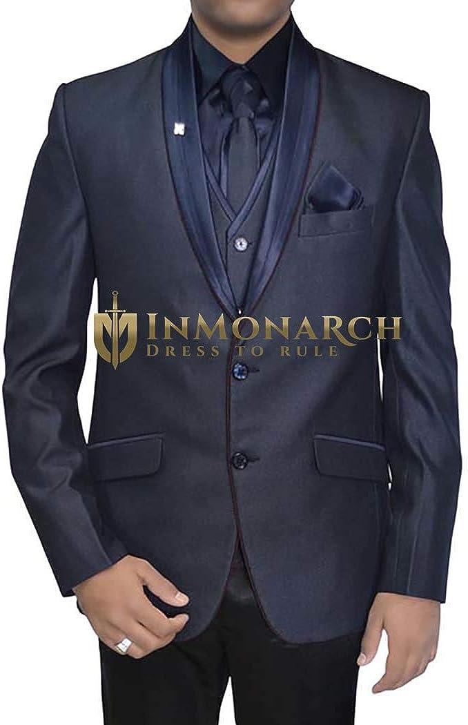INMONARCH Mens Purple Gray 6 pc Tuxedo Suit Polyester TX11228XL48 48 X-Long Purple Gray