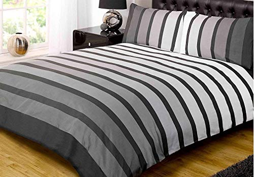 Soho Black Stripe Duvet Cover Quilt Bedding Set, Black White Grey, Single by Rapport
