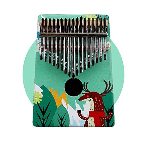 Yamyannie Finger Daumen Klavier 17 Keys Phonetic Alphabet Daumenklavier Painted KOA Holz Mahagoni Ore Metall-Schlüssel mit Tragetasche (Farbe : Green1, Größe : 13x3x18cm)