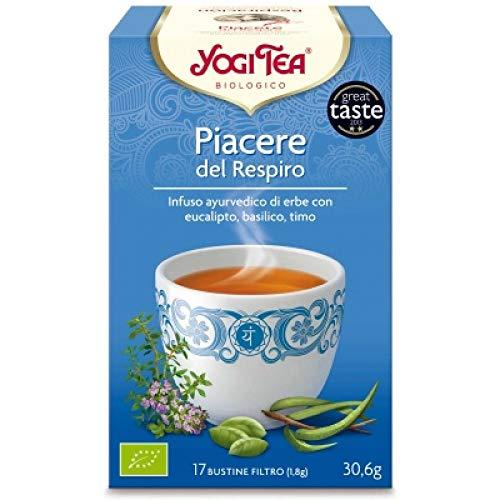 Yogi Tea Placer de respirar - Té con eucalipto, albahaca y tomillo, 17 bolsitas, 30.6 gr
