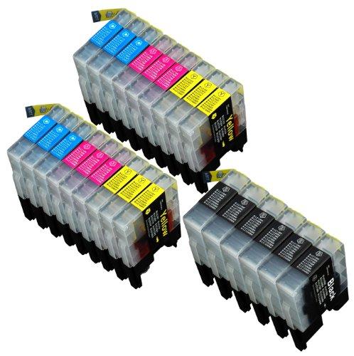 24 Multipack de alta capacidad Brother LC1240 , LC1280 Cartuchos Compatibles 6 negro, 6 ciano, 6 magenta, 6 amarillo para Brother DCP-J525W, DCP-J725DW, DCP-J925DW, MFC-J430W, MFC-J5910DW, MFC-J625DW, MFC-J6510DW, MFC-J6710DW, MFC-J6910DW, MFC-J825DW. Cartucho de tinta . LC-1240BK , LC-1240C , LC-1240M , LC-1240Y © 123 Cartucho