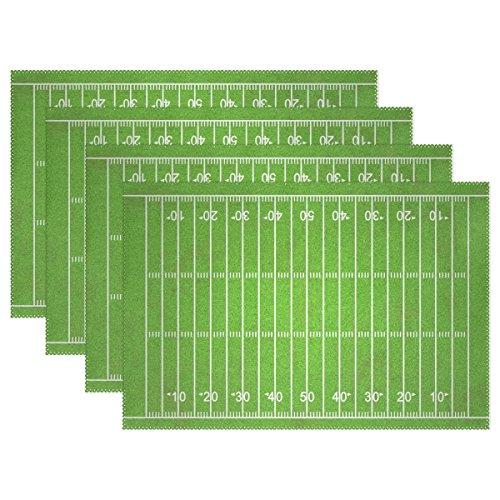 COOSUN Grungy American Football-Feld Tischsets, hitzebeständige Tischsets Fleck beständig Anti-Rutsch-Waschbar Polyester Platzsets Non Slip Easy Clean Tischsets, 12 x 18, 6er Set