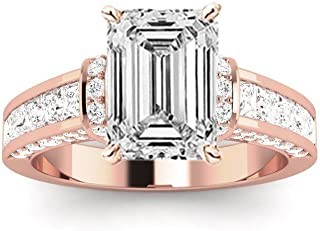 2.5 Ctw 14K White Gold Contemporary Channel Princess Round Emerald Cut Diamond Engagement Ring (1.5 Ct H Color SI1 Clarity Center Stone)