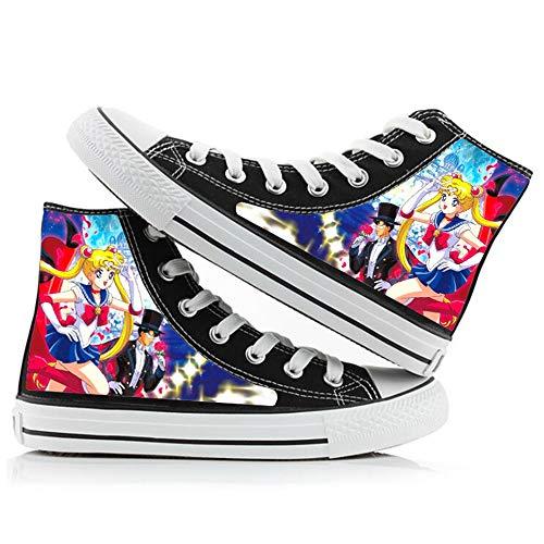 Boyijj Sailor Moon Zapatos de Lona de Primavera y otoño Zapatos de Lona para Hombres y Mujeres Zapatos con Estampado de Dibujos Animados Zapatillas de Color Zapatos Casuales,39 EU