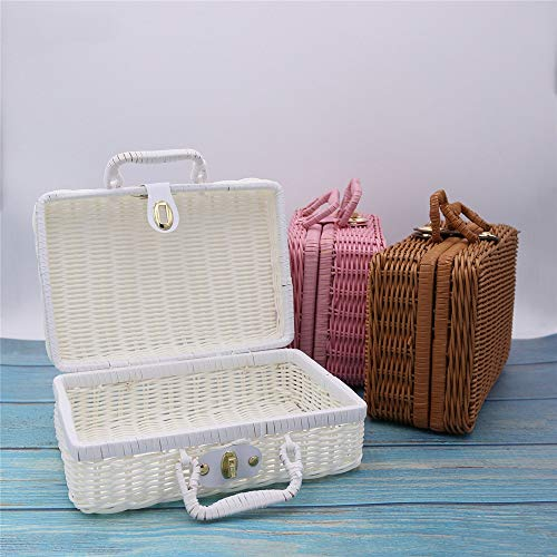 TIMAW - Maleta de ratán con acabado cosmético, hecha a mano, cesta de regalo hecha a mano, caja de ratán tejida de polipropileno sólido (color: té, tamaño: 22 x 17 x 11 cm)
