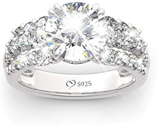 Jeulia Wedding Rings Engagement Rings for Women Anniversary Promise Ring Bridal Sets 925 Sterling Silver with 4.75 ct Primary Stone+2.59 ct Side Stone