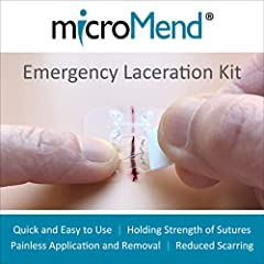 """AVOID STRESSFUL, EXPENSIVE TRIPS TO THE ER with affordable, easy-to-apply, safe and secure rapid skin closures. Eliminates the need for stitches. WOUND CLOSURE KIT INCLUDES: Two (2) 0.5"""" Wide Sterile microMend Devices One (1) 1"""" x 1"""" Alcohol Prep Pad..."""