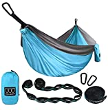 Gold Armour Camping Hammock - Extra Large Double Parachute Hammock (2 Tree Straps 32 Loops, 29 Colors/Patterns) USA Brand Lightweight Nylon Adults Kids, Camping Accessories Gear (Sky Blue and Gray)