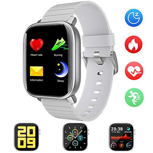 Smartwatch Reloj Inteligente, IP68 Impermeable 1.4 Pantalla Táctil Completa con Pulsómetro Cronómetro Pulsera Deporte con iOS y Android for para Hombres Mujeres Niño (Gris) (Gris)