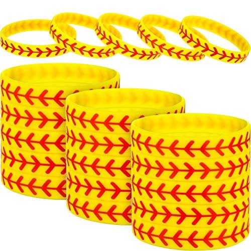 JOVITEC 24 Packs Softball Bracelet Softball Wristband Silicone Bracelet Softball Gift for Softball Player and Softball Teams