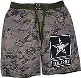 US Army Mens' Swim Trunks with Drawstring Digital Camo, Green & Brown (Small)