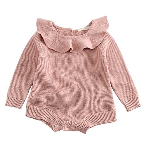 Brightup Baby Mädchen Stricken Strampler, Säuglings Strickwaren,Langarm Stricken Bodys & Einteiler, Herbst Winter Pullover