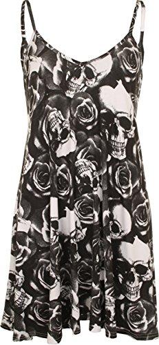 WearAll - Mujeres Tallas Grandes Sin Mangas Impreso Mini Vestido Camisola Chaleco Top - Negro Blanco - 48-50