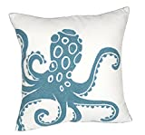 DECOPOW Embroidered Cute Nautical Animal Pillow Covers,Square 18 Inches Decorative Canvas Pillow Cover for Nautical Style Deco by (Seagreen-Octopus)