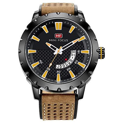 Reloj para Hombre Reloj mecánico automático Calendario analógico Reloj de Pulsera mecánico de Cuero marrón-B