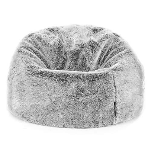 """Icon Sitzsack aus Kunstpelz """"Kenai"""" für Kinder, Arktischer Wolf Grau, Sitzsäcke für Kinder, 65cm x 45cm, Groß, Sitzsäcke für das Wohnzimmer, Schlafzimmer, Kunstpelz"""