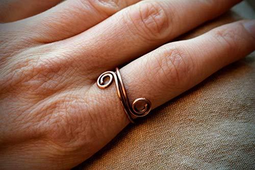 Ring aus Kupfer Mittelalterschmuck Boho Witchy Antik Wikinger Schmuck Kupferring Kupferschmuck Fingerring oxidiert mit Patina tribal gebogen
